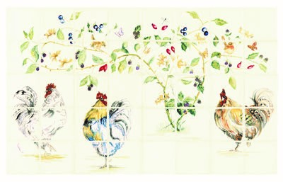 Tegelgalerie - Winchester Tiles - Classic - Chicken Coop 40 Tile Panel Colour on Off White