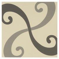 8131V Arabesque Light Grey and Dark Grey on White - 2 tile set 151 x 151