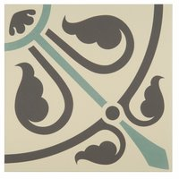 8069V Phoenician Dark Grey and Dark Jade on White 151 x 151