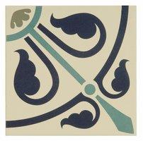 8081V Phoenician Dublin, Dark Blue and Dark Jade on White 151 x 151