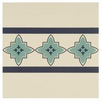 8029V Marrakech Borders Dark Blue and Dark Jade on White 151 x 151