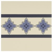 8020V Marrakech Borders Indigo and Dark Blue on White 151 x 151