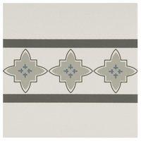 8023V Marrakech Borders Light Blue, Light Grey and Dark Grey on Dover White 151 x 151