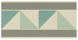8056V Pyrenees Borders Light Grey, Light Jade and Dark Jade on White 151 x 75