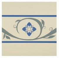 8034V Saxon Borders Denim and Blue on White 151 x 151