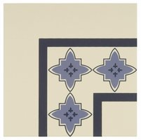 8019V Marrakech Corners Indigo and Dark Blue on White 151 x 151