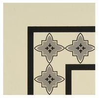 8025V Marrakech Corners Light Grey and Black on White 151 x 151