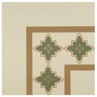 8011V Marrakech Corners Dublin, Khaki and Old London on White 151 x 151