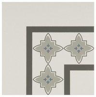 8022V Marrakech Corners Light Blue, Light Grey and Dark Grey on Dover White 151 x 151