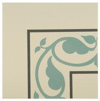 8070V Moroccan Internal Corners Dark Grey and Dark Jade on White 151 x 151