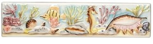 Coral Reef Seahorse and Conch Border 200 x 50