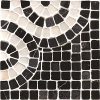Athenian Scroll Black Corner Mosaic 100 x 100