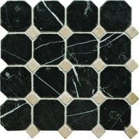 Black - Crema Octagon Mosaic 300 x 300