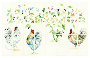 Chicken Coop 40 Tile Panel Colour on Off White 127 x 127