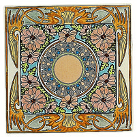 Alphonse Mucha Evening Reverie Single Floral Tile Multi colour on Colonial White 152 x 152
