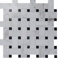Basketweave white with black dot Mosaic 290 x 290