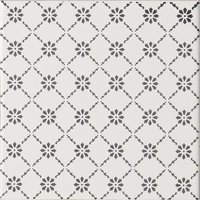 Floral Trellis Grey on Brilliant white 152 x 152