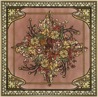 Alphonse Mucha Spring Single Floral Tile Multi colour on Colonial White 152 x 152