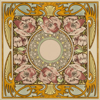 Alphonse Mucha Nocturnal Slumber Single Floral Tile Multi colour on Colonial White 152 x 152