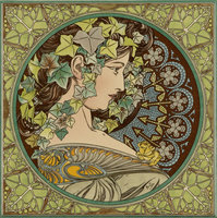 Alphonse Mucha Ivy Multi colour on Colonial White 152 x 152