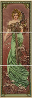 Alphonse Mucha Spring RH 3-Tile Set Multi colour on Colonial White 152 x 152