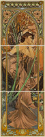 Alphonse Mucha Evening Reverie RH 3-Tile Set Multi colour on Colonial White 152 x 152