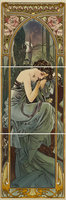 Alphonse Mucha Nocturnal Slumber LH 3-tile Set Multi colour on Colonial White 152 x 152