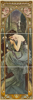 Alphonse Mucha Nocturnal Slumber RH 3-Tile Set Multi colour on Colonial White 152 x 152