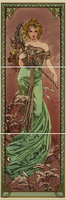 Alphonse Mucha Spring LH 3-Tile Set Multi colour on Colonial White 152 x 152