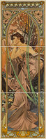Alphonse Mucha Evening Reverie LH 3-Tile Set Multi colour on Colonial White 152 x 152
