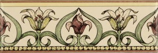 Art Nouveau Lily, Green Colonial White Glaze 152 x 50