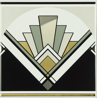 Art Deco Fan Multi Colour on Brilliant White 152 x 152