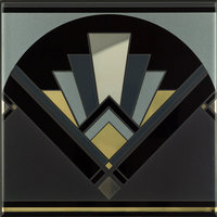 Art Deco Black Fan Multi Colour on Brilliant White 152 x 152