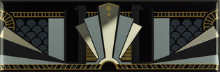Art Deco Black Manhattan Border Multi Colour on Brilliant White 152 x 50