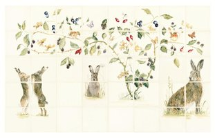 Family of Hares 40 Tile Panel Colour on Off White 127 x 127