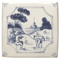 English Delft Pastoral Scene 127 x 127
