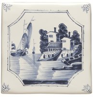 English Delft Ship and House 127 x 127
