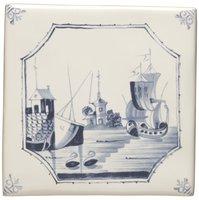 English Delft Ship and Island 127 x 127