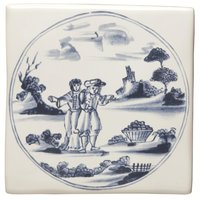 English Delft Couple with Basket 127 x 127