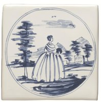 English Delft Lady and Mansion  127 x 127
