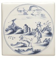 English Delft Man with Dog 127 x 127