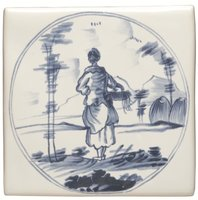 English Delft Woman with Basket  127 x 127