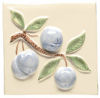 Blue Crabapple on Off White 105 x 105