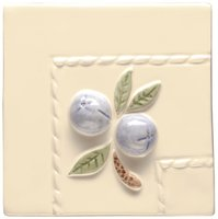 Blue Crabapple Border Corner on Off White 105 x 105