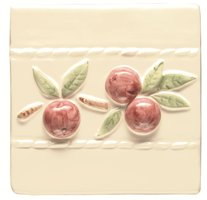 Burgundy Crabapple Border on Off White 105 x 105