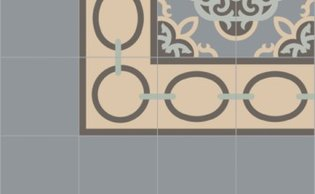Bisazza border cementtegel Square Necklace Seppia 200 x 200