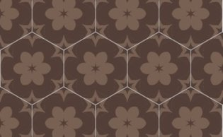 Bisazza cementtegel Hexagon Ariel Brown 200 x 230