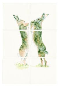 Boxing Hares 6 Tile Panel Colour on Off White 127 x 127